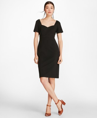 Brooks Brothers Ponte-Knit Sweetheart-Neck Sheath Dress