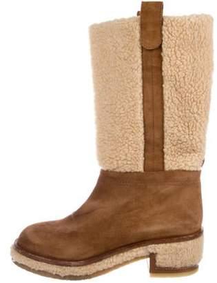 Chanel Shearling Mid-Calf Boots Tan Shearling Mid-Calf Boots