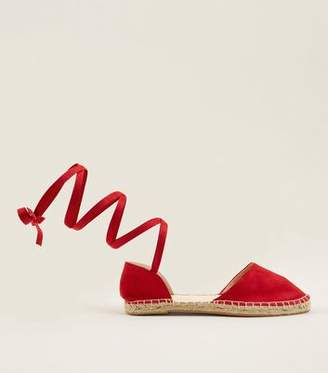 New Look Wide Fit Red Suedette Ankle Tie Espadrilles