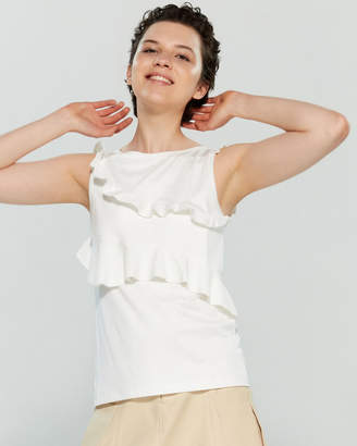 Carven White Ruffled Tank Top