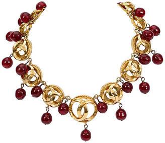 One Kings Lane Vintage Chanel Red Gripoix Drops Choker - Vintage Lux