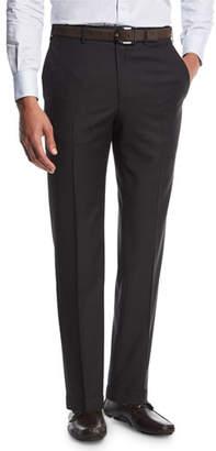Brioni Sharkskin Flat-Front Trousers, Gray
