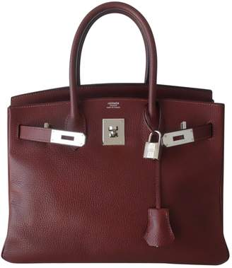 Hermes Birkin 30 Burgundy Leather Handbag