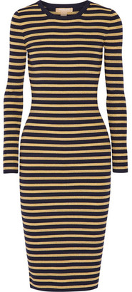 Michael Kors Collection - Metallic Striped Stretch-knit Dress - Gold $895 thestylecure.com