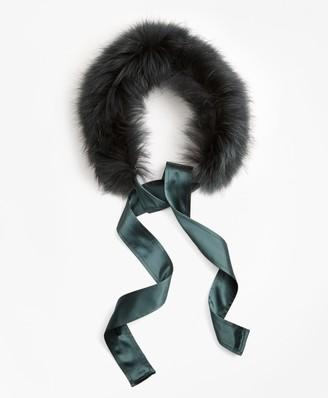 Brooks Brothers Raccoon Fur Collar with Silk Crepe Ribbon Tie