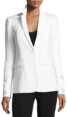 Elie Tahari Mauricia Blazer Jacket w/ Floral Appliqué $428 thestylecure.com