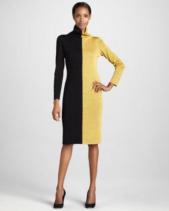 Misook Colorblock Turtleneck Dress