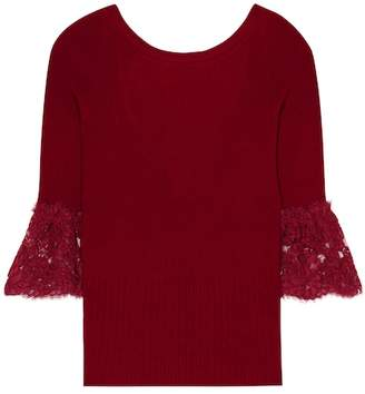 Oscar de la Renta Lace-trimmed wool sweater