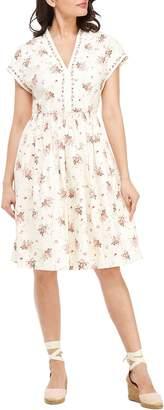 Gal Meets Glam Smocked Waist Floral Print Dress