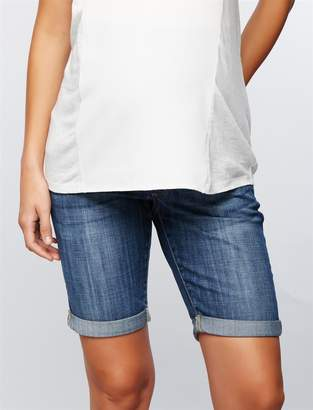 A Pea in the Pod Luxe Essentials Denim Secret Fit Belly Maternity Bermuda Shorts
