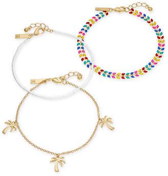 INC International Concepts I.n.c. Gold-Tone 3-Pc. Set Stone, Bead & Palm Tree Ankle Bracelets, Created for Macy's