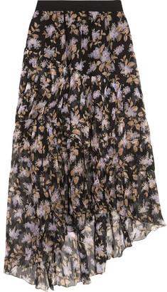 Zimmermann - Asymmetric Tiered Printed Crinkled Silk-chiffon Skirt - Black $740 thestylecure.com