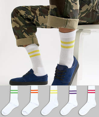 Asos Design DESIGN sports style socks with bright stripes in white 5 pack