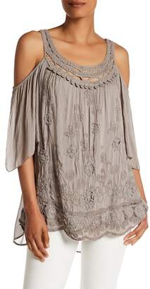 Tempo Paris Embroidered Cold Shoulder Tunic $98 thestylecure.com
