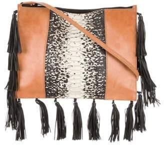Loeffler Randall Fringe-Trimmed Embossed Leather Crossbody Bag black Fringe-Trimmed Embossed Leather Crossbody Bag