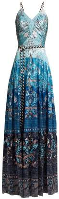 Peter Pilotto Floral Print Hammered Silk Blend Dress - Womens - Blue Multi
