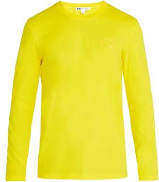 Y-3 Y 3 Logo Print Long Sleeved Cotton T Shirt - Mens - Yellow