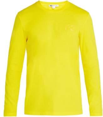 Y-3 - Logo Print Long Sleeved Cotton T Shirt - Mens - Yellow