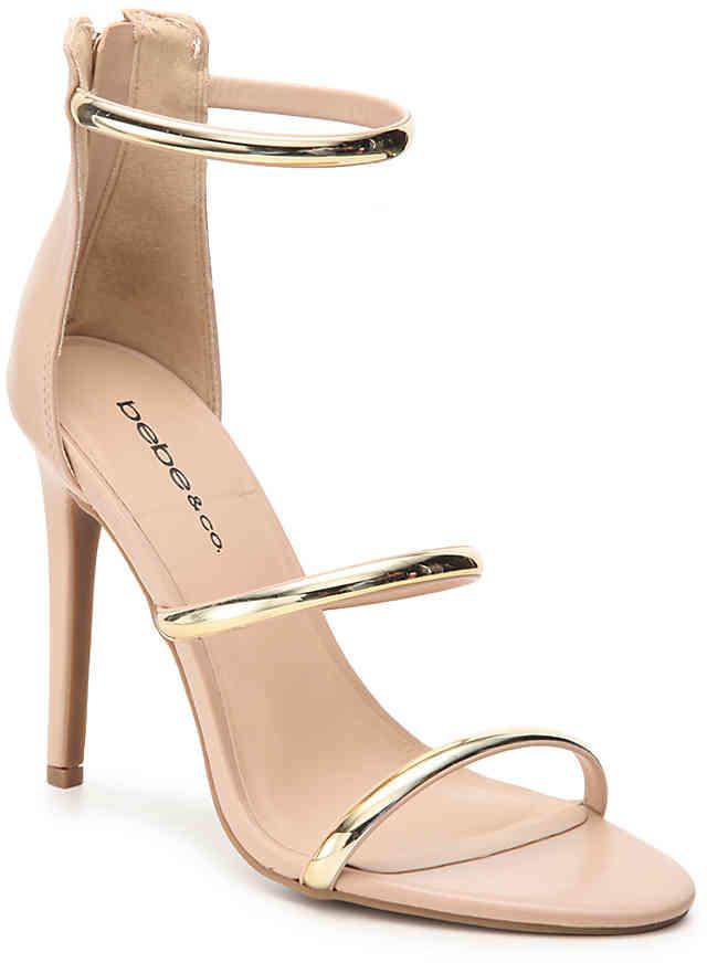 Women's Berdine Sandal -Nude/Gold Metallic Faux Leather