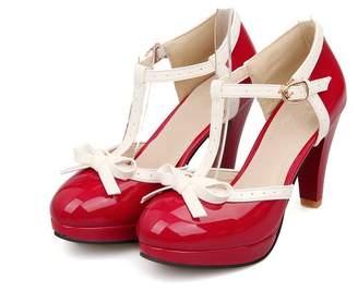 Lucksender Fashion T Strap Bows Womens Platform High Heel Pumps Shoes 9.5B(M) US