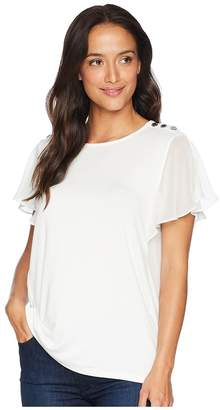 Calvin Klein Flutter Sleeve Top w/ Buttons Women's Clothing