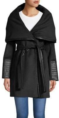 Via Spiga Faux-Leather Waist-Tie Walker Coat
