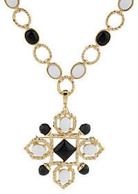 Rachel Zoe Luxe Cabochon Link Necklace withPin/Enhancer