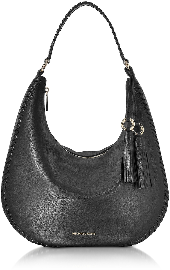 MICHAEL Michael Kors Michael Kors Lauryn Large Black Pebble Leather Shoulder Bag