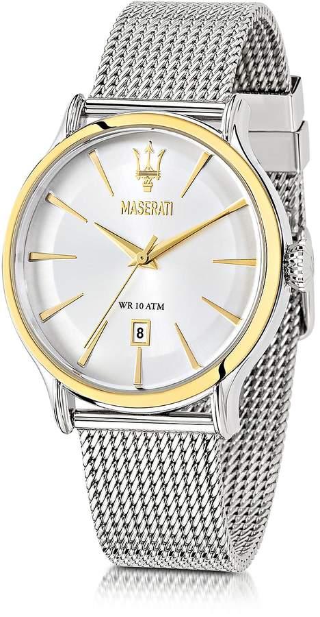 Epoca Maserati White Dial Stainless Steel Men's Watch