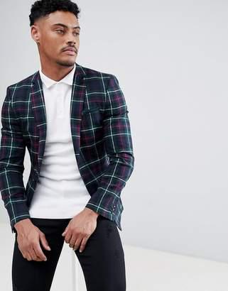 Asos Design DESIGN Super Skinny Blazer In Tartan Check