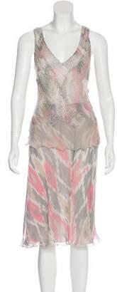 Alberta Ferretti Silk Embellished Skirt Set