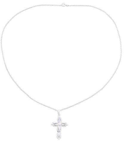 Ssterling Silver Filigree Cross Pendant Necklace - 18