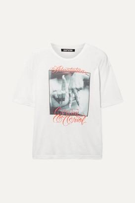 Adaptation Printed Slub Cotton And Cashmere-blend T-shirt