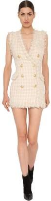 Balmain Double Breasted Fringed Tweed Dress