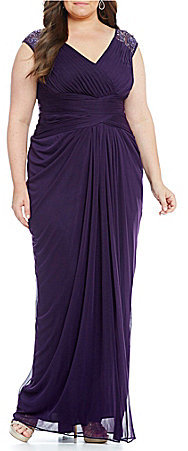 Adrianna PapellAdrianna Papell Plus Beaded Cap-Sleeve Shirred Tulle Gown