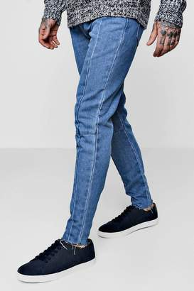 boohoo Skinny Fit Seam Detail Jeans With Raw Hem