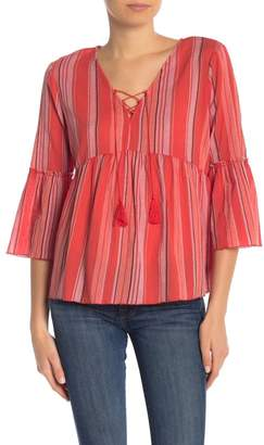 Sanctuary Lace-Up Bell Sleeve Blouse