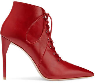 Miu Miu Lace-up Leather Ankle Boots - Red