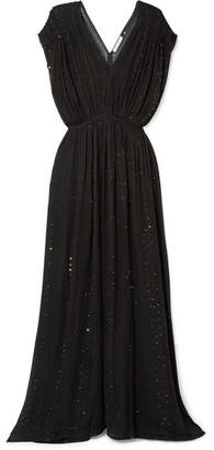 Mes Demoiselles Nokomis Sequin-embellished Metallic Gauze Maxi Dress - Black