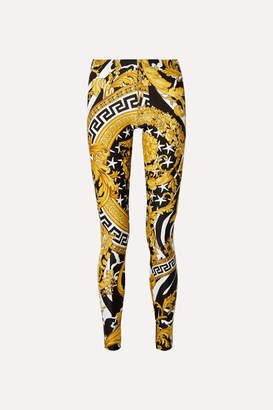 Versace Printed Stretch-jersey Leggings - Yellow
