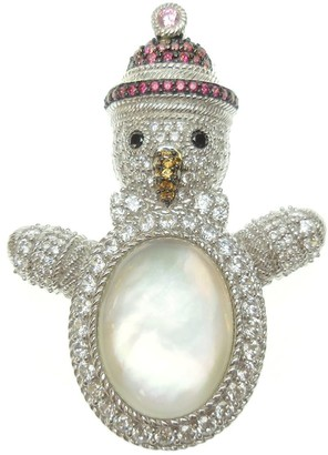 Judith Ripka Sterling Diamonique Snowman Pin