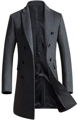 OCHENTA Men's Slim Fit Winter Wool Peacoat Overcoat Black Grey US S - Asian L