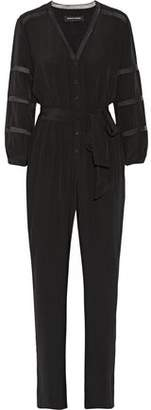 Vanessa Seward Belted Chantilly Lace-Trimmed Silk Jumpsuit