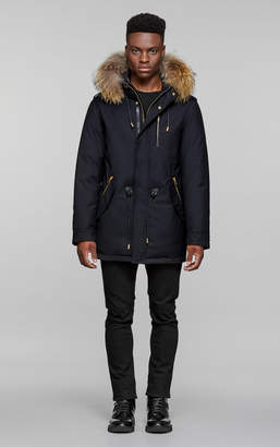 Mackage SETH-D hip length twill parka with hood and natural fur