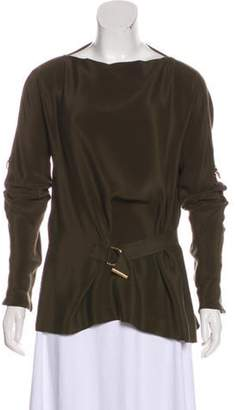 Tom Ford Silk Belt-Accent Blouse Olive Silk Belt-Accent Blouse