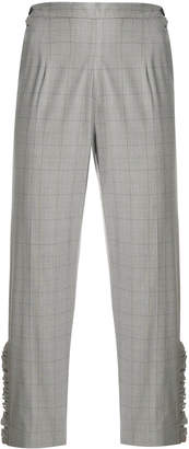 I'M Isola Marras cropped ruffled grid print trousers