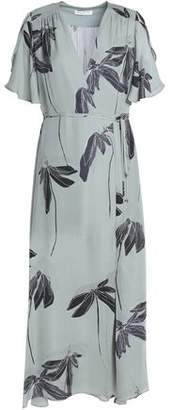 Halston Wrap-effect Printed Silk Midi Dress