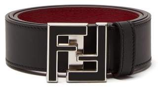Fendi Ff Logo Buckle Leather Belt - Mens - Black Silver