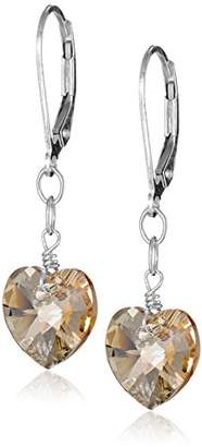 Swarovski Sterling Silver Elements Color Aurora Borealis Heart Shape Drop Earrings