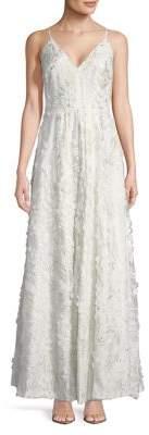 Calvin Klein Spaghetti Strap Pleated Gown